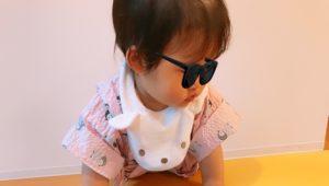 キッズルームにて甚平を着た娘の写真